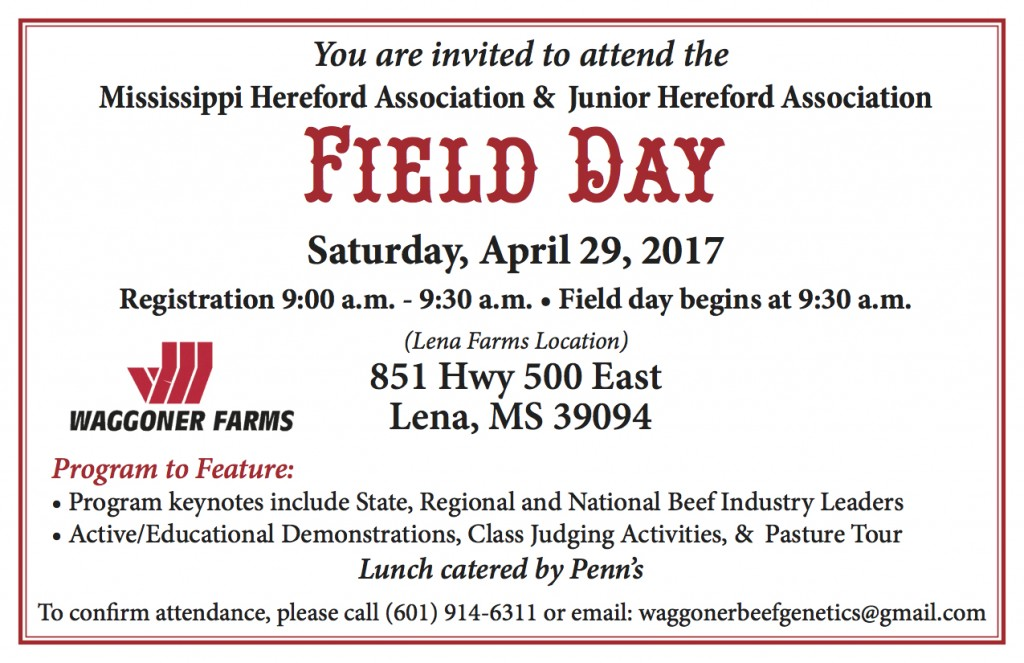 Hereford Field Day - April 29th Invitation